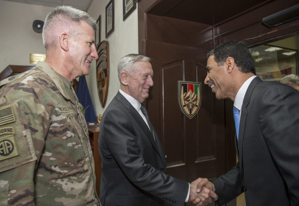 Jim Mattis and John Nicholson at Resolute Support HQ, Afghanistan