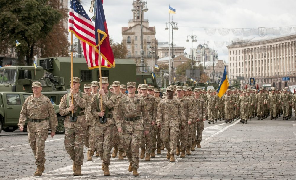 Oklahoma National Guard soldiers march in Ukraine
