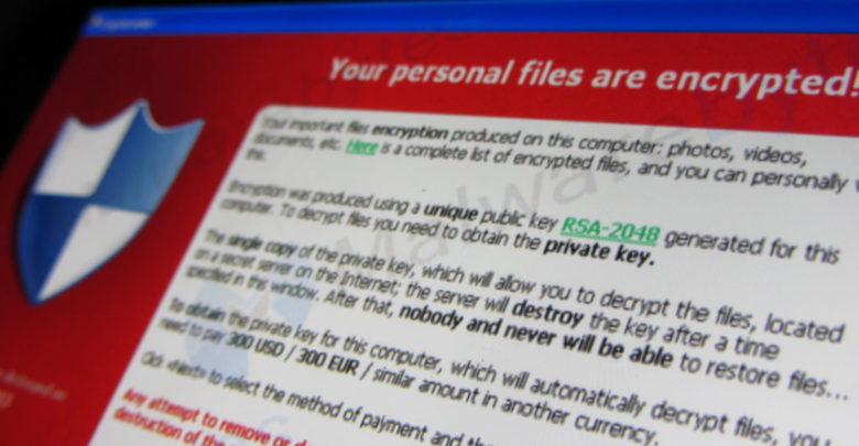 This message is displayed when an user is infected with the Cryptolocker ransomware. If the user doesn't pay the 'ransom' the user's files are gone. Screen of Cryptolocker via Malwarebytes.