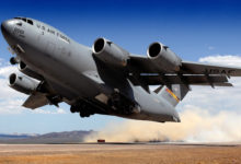 Boeing C-17 Globemaster III lifts off