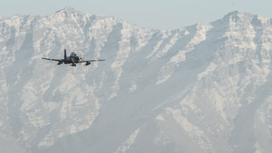 Afghan air force A-29 Super Tucano light air support aircraft
