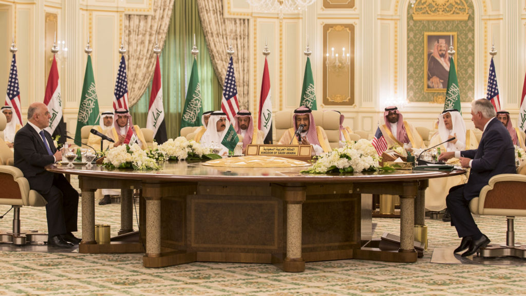 Haider al-Abadi, King Salman and Rex Tillerson in Riyadh