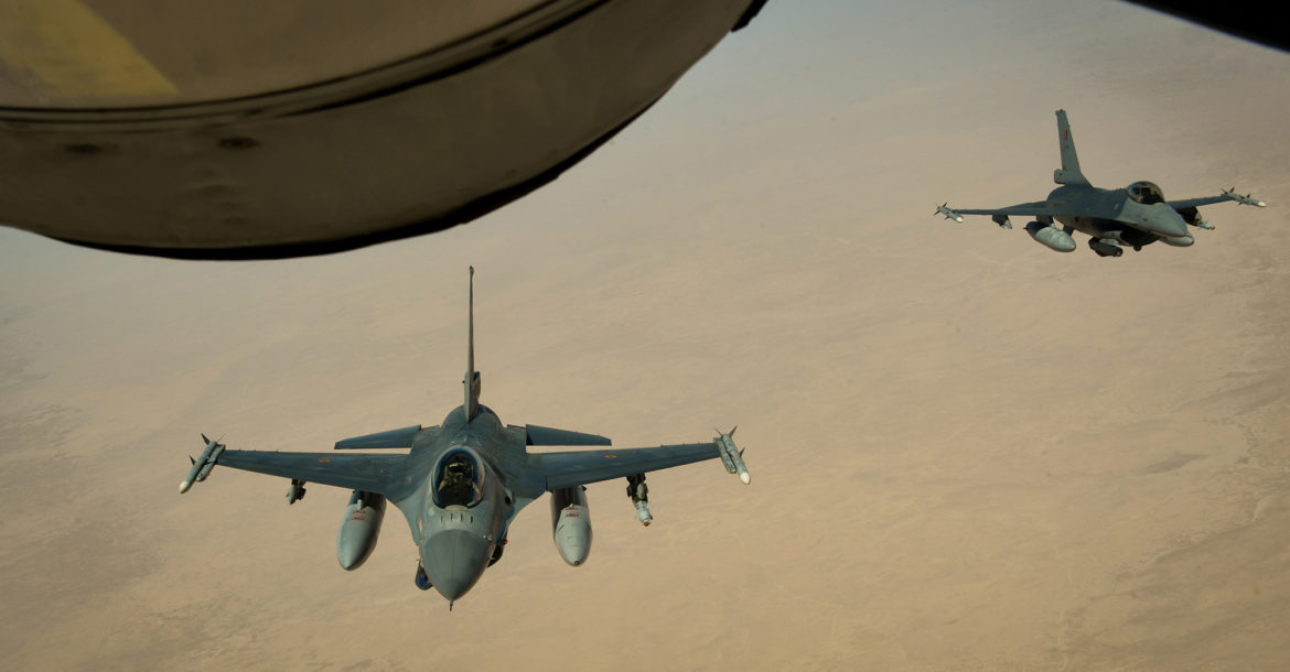 Two Belgian Air Force F-16A Fighting Falcons
