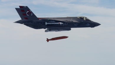 An F-35C test-drops an AGM-154 Joint Standoff Weapon (JSOW)