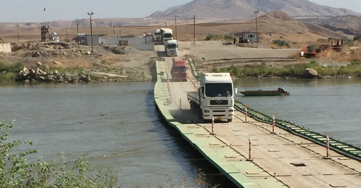 Fishkhabur Simalka border crossing pontoon bridge