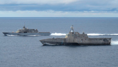 Littoral combat ships USS Freedom (LCS 1) and USS Independence (LCS 2)