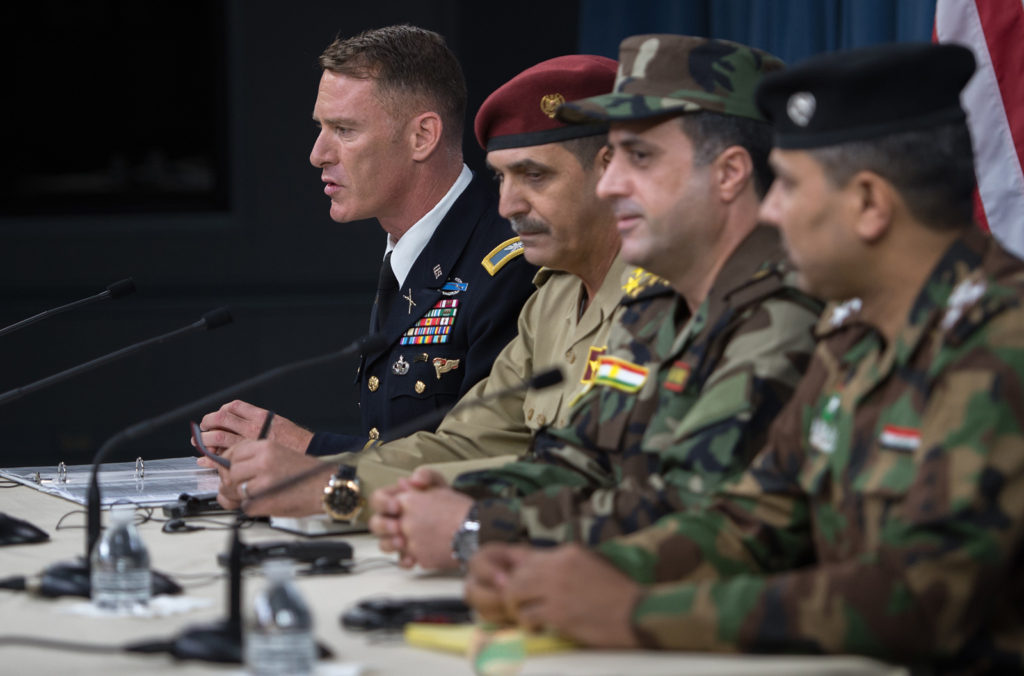 Coalition spokesman Col Ryan Dillon briefs media on the liberation of Mosul