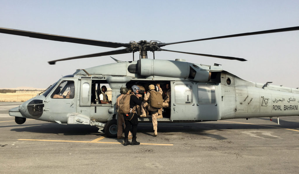 Boarding a Royal Bahrain Air Force UH-60 Black Hawk helicopte