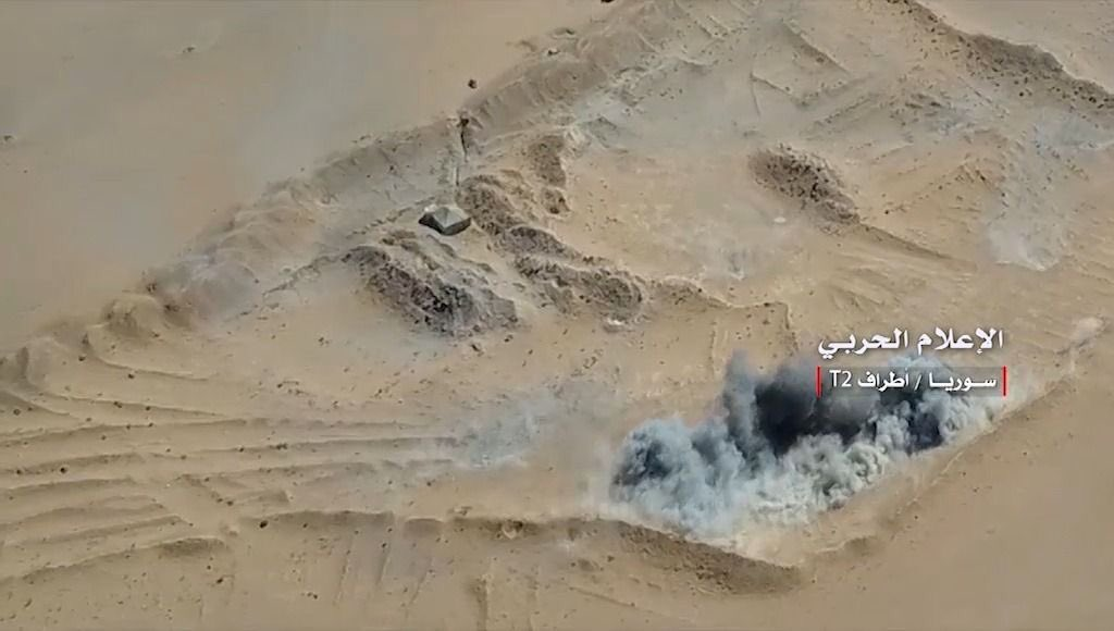 Aerial view of the Attack nearT2 pumping station in Syria