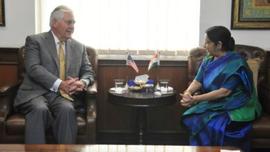 Rex Tillerson with India's Susham Swaraj