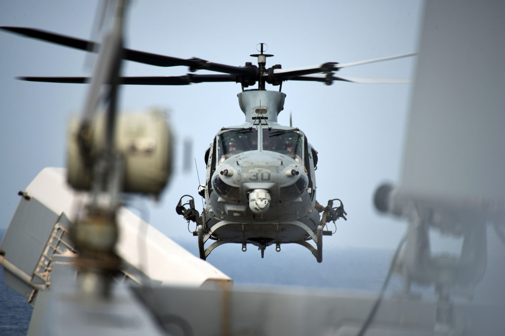 UH-1Y Venom helicopter departs the USS San Diego