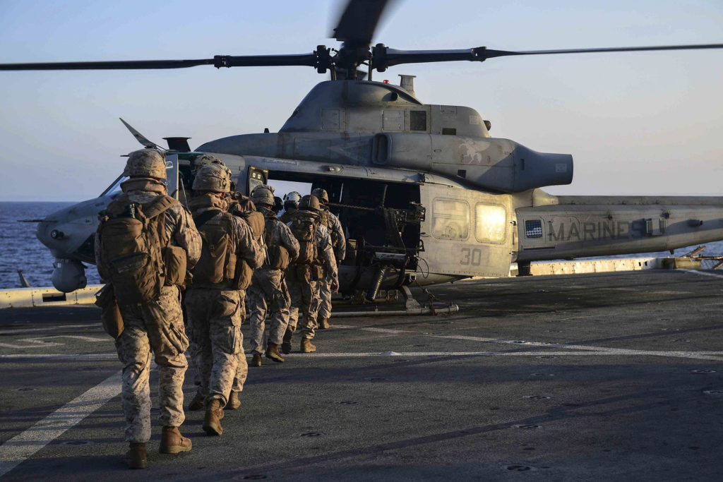 US Marines board a UH-1Y Venom helicopter