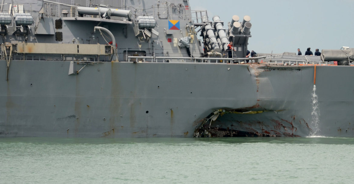 USS John S. McCain damaged