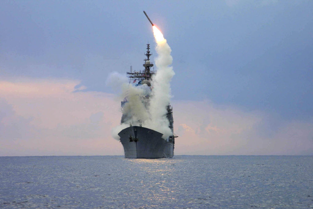 USS Cape St. George launches a Tomahawk cruise missile