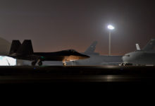 F-22 Raptor taxis before takeoff in new Aghanistan offensive
