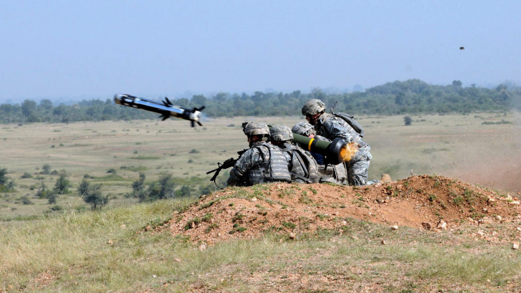 FGM-148 Javelin anti-tank guided missile launch in India