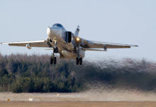 Russian Sukhoi Su-24 takes off