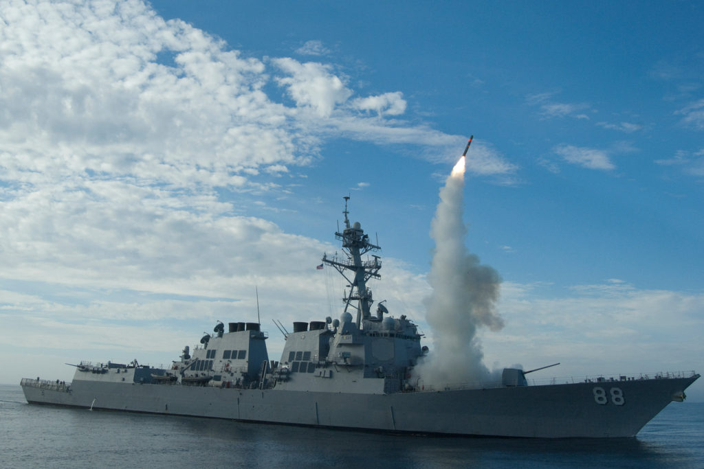 USS Preble fires a Tomahawk cruise missile