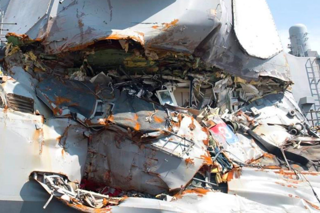 USS Fitzgerald Commanding Officer's Stateroom damage – external