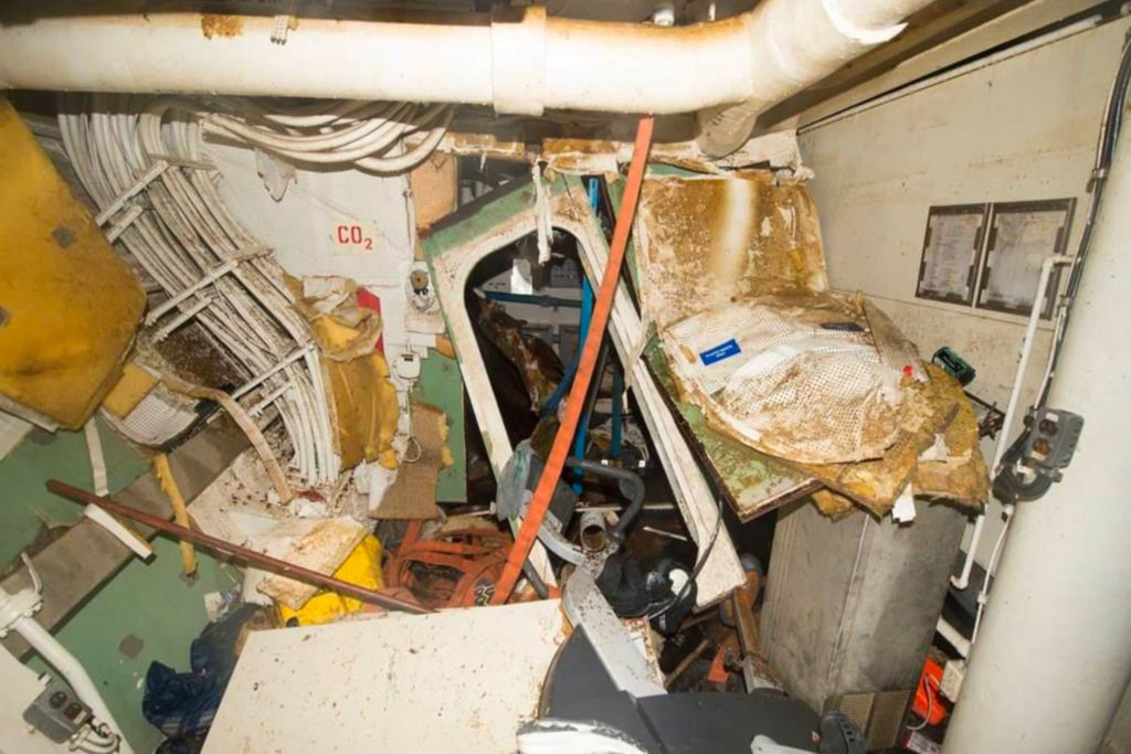 USS Fitzgerald lounge damage