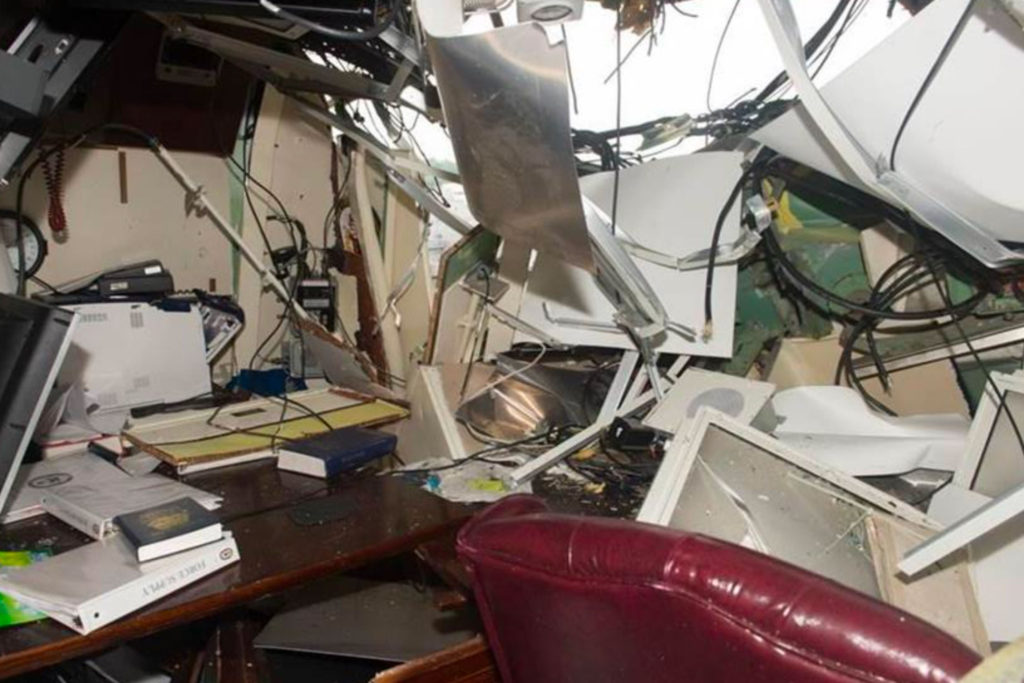USS Fitzgerald Commanding Officer's Stateroom damage, internal