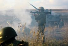 A Ukrainian soldier assigned to 1st Battalion, 92nd Mechanized Brigade, fires a rocket propelled grenade during a platoon live-fire exercise