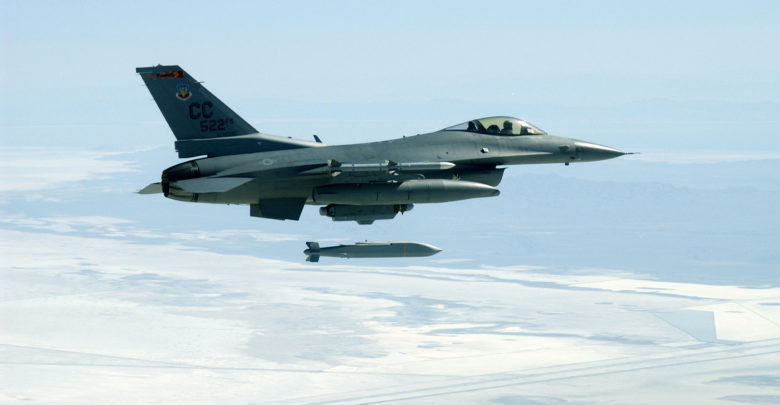 F-16 launches AGM-154 Joint Standoff Weapon glide bomb