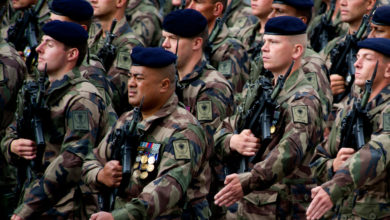 French troops parade on Bastille Day