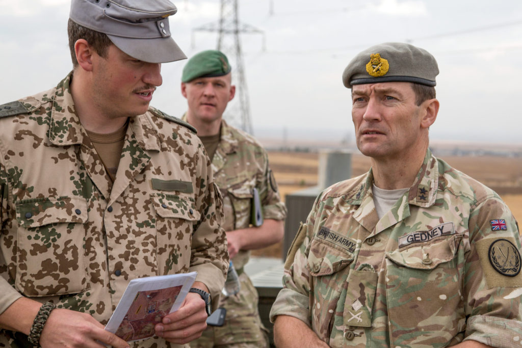 Major General Felix Gedney reviews coalition training in Iraq