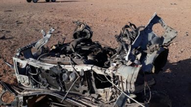 The remains of an ISIS vehicle after an attack on At Tanf deconfliction zone