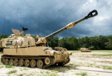 US Army M109A6 Paladin howitzers