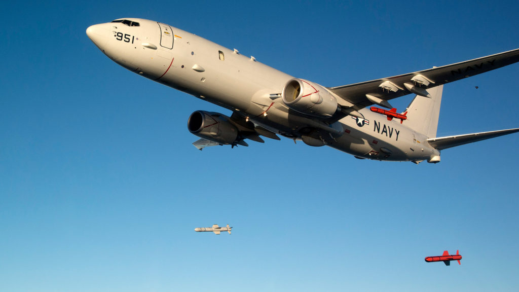 U.S. Navy P-8A Poseidon launches Harpoon missiles