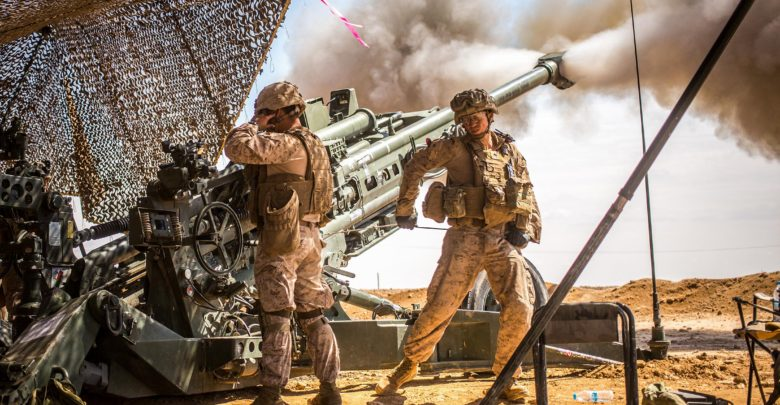 US Marines fire M777 howitzer in Syria