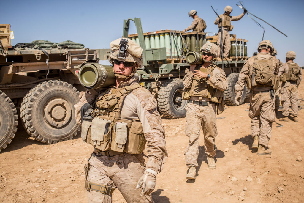US Marines prepare to fire M777 howitzer Syria