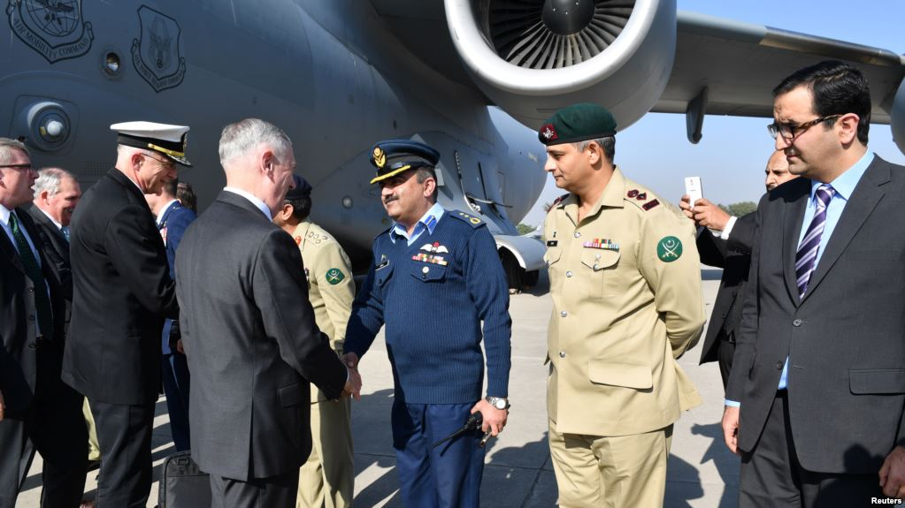 US Defense Secretary Jim Mattis arrived in Pakistan