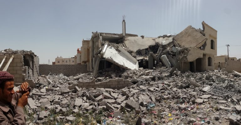 Destroyed house in Sanaa, Yemen