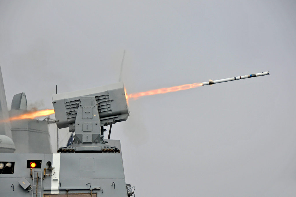 USS New Orleans fires Rolling Airframe Missile