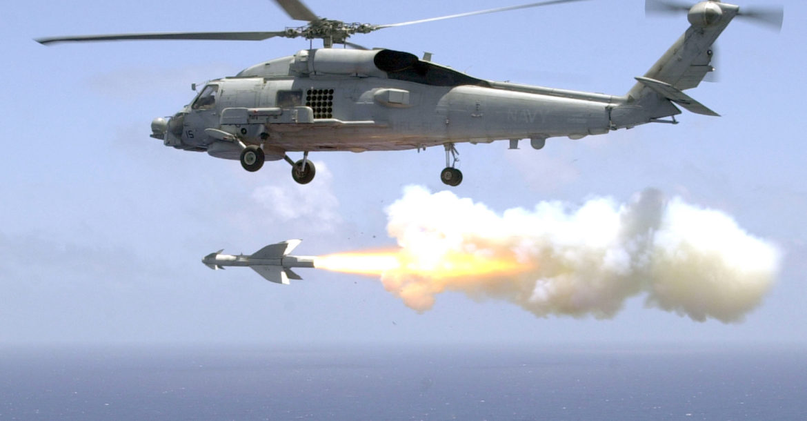 """US Navy Helicopter Antisubmarine Light Five One (HSL-51) fires an AGM-119 """"Penguin"""" anti-ship missile from an SH-60B Sea Hawk helicopter"""