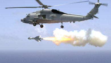 "US Navy Helicopter Antisubmarine Light Five One (HSL-51) fires an AGM-119 ""Penguin"" anti-ship missile from an SH-60B Sea Hawk helicopter"