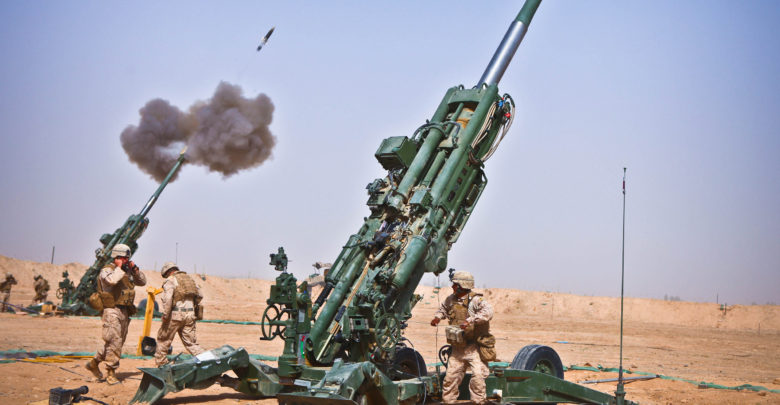 M982 Excalibur round fired from M777 howitzer