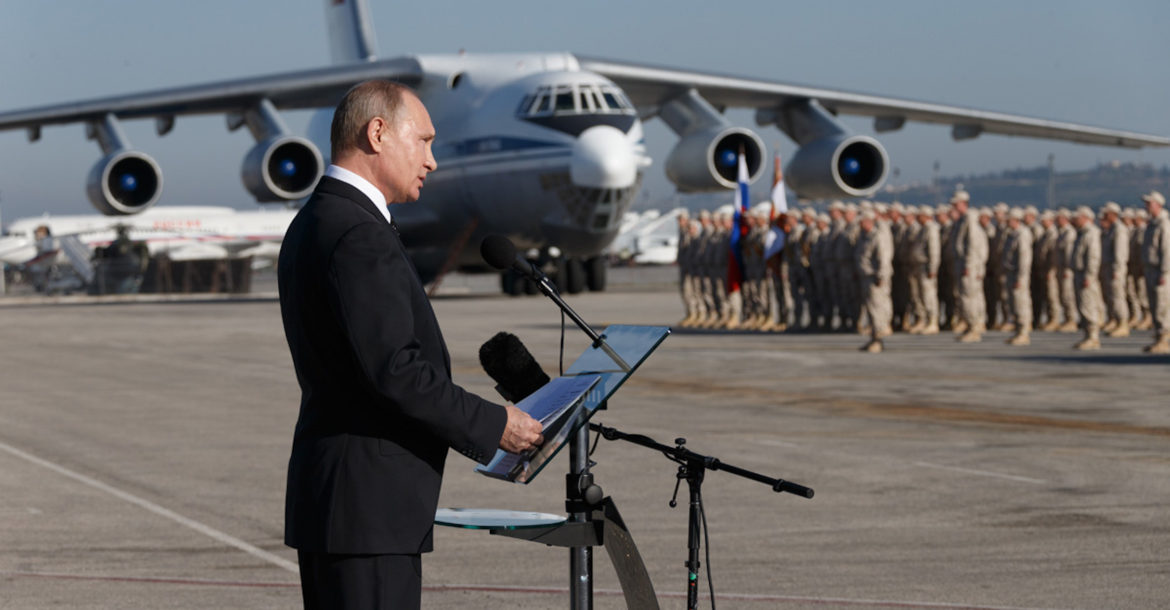 Russian President Vladimir Putin at Hmeimim air base in Syria