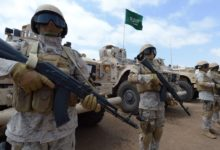 Saudi forces take part in military exercises during a visit by Yemeni Prime Minister Khaled Bahah at the Saudi-led coalition military base in Yemen's southern embattled city of Aden.