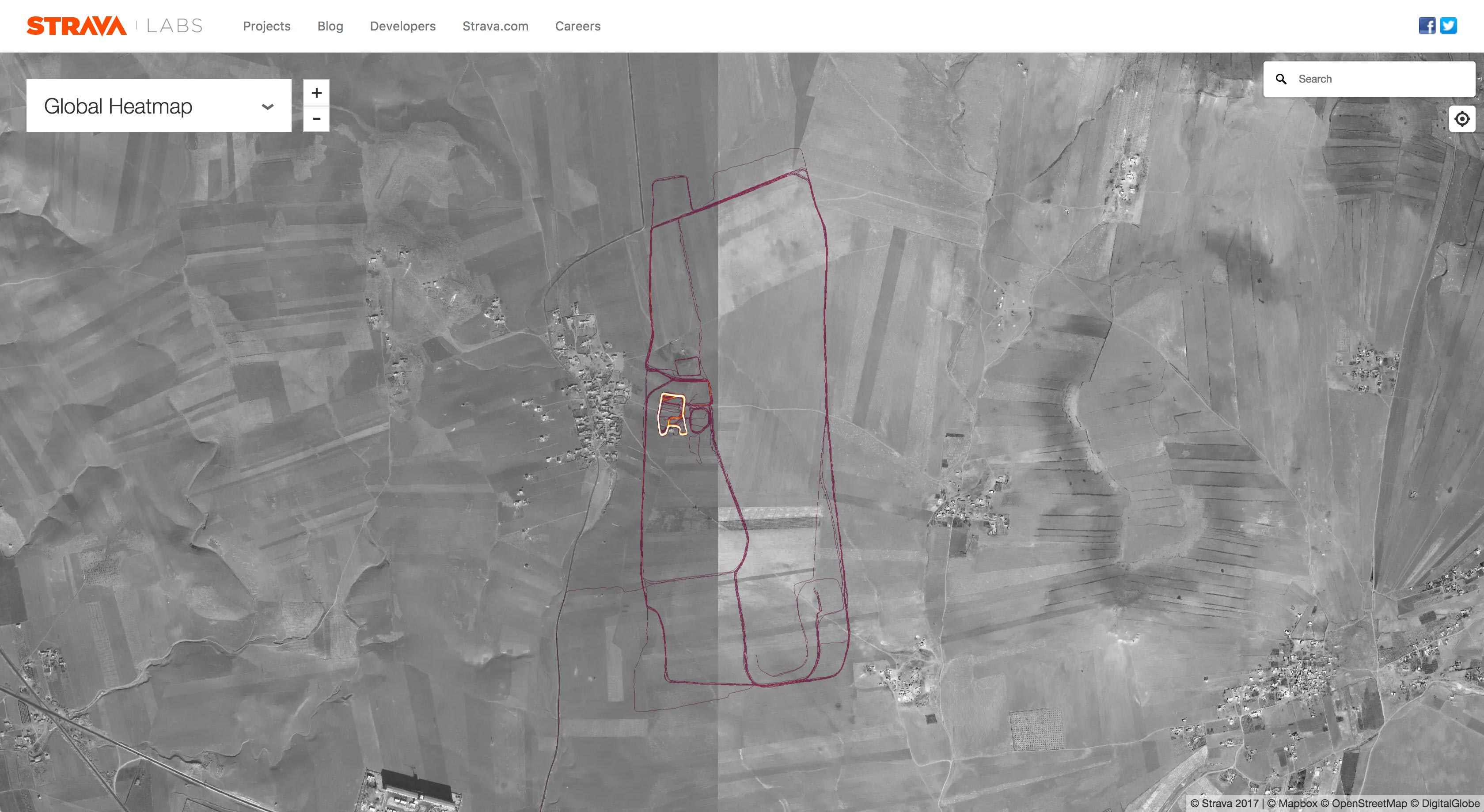 Strava heatmap of Sarrin air base, Syria