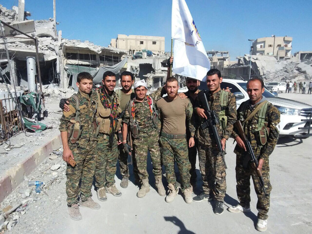 Syriac Military Council (MFS) fighters in Raqqa, Syria