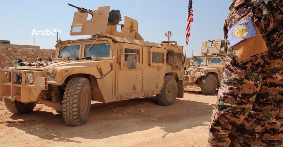 US military vehicles near Manbij, Syria