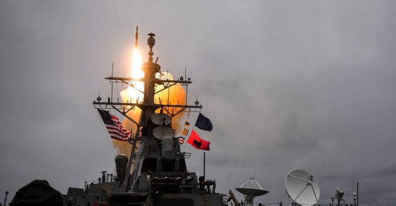 USS Donald Cook fires a Standard Missile-3