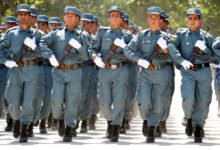 Afghan National Police march during an ANP graduation