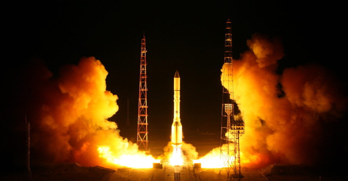 Proton-M rocket lifts off with the Blagovest 11L satellite