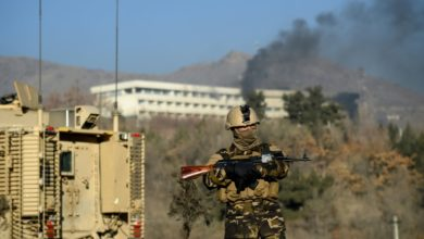 Afghan soldier on guard in Kabul