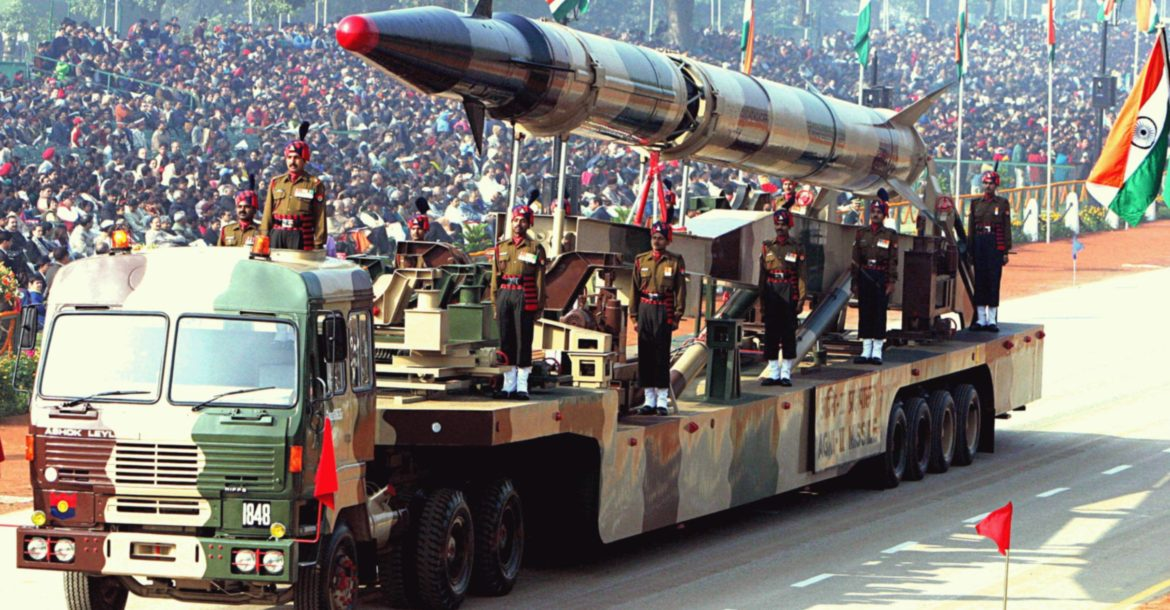 India Agni-II ballistic missile on launcher